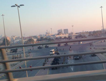 Security forces at the location of the pearl roundabout