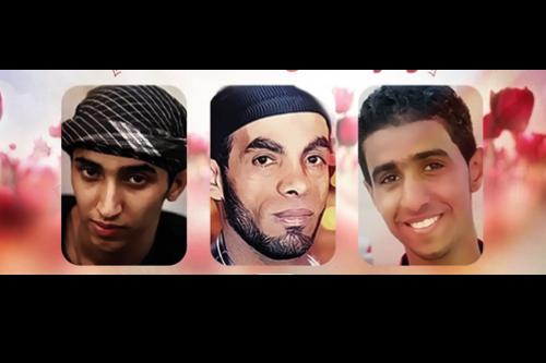 من اليمين: عباس السميع، سامي مشيمع، علي السنقيس