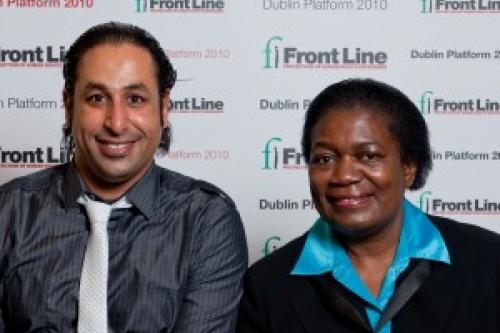 Pic: Naji Fateel with Margaret Sekaggya